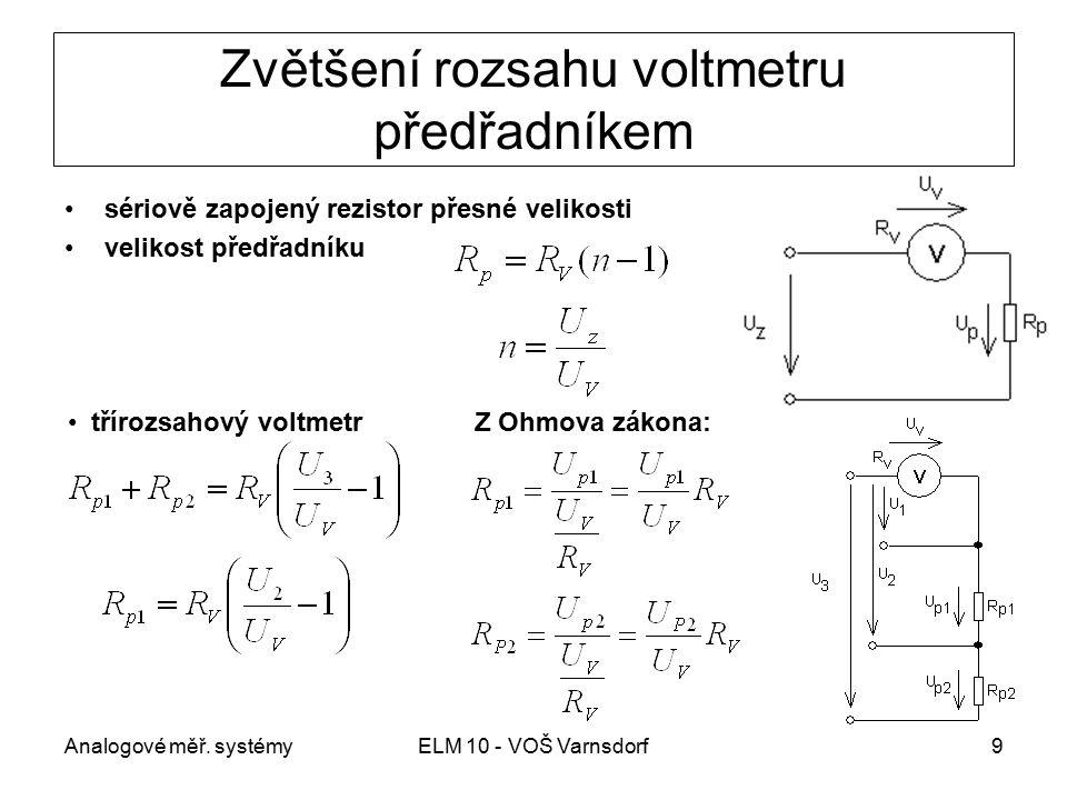 Zvětšení rozsahu voltmetru předřadníkem