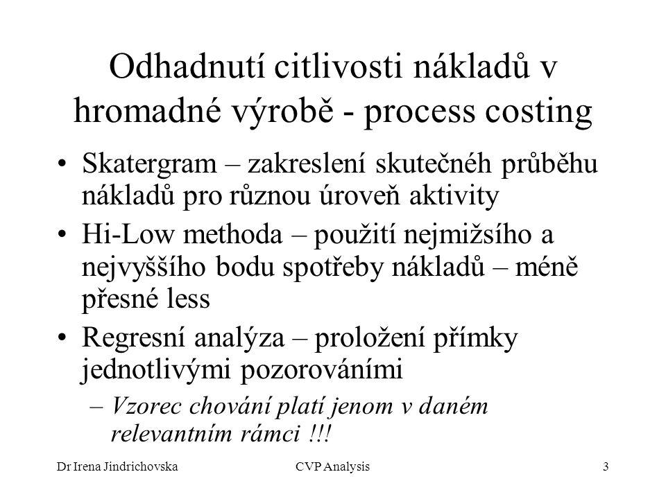 Odhadnutí citlivosti nákladů v hromadné výrobě - process costing