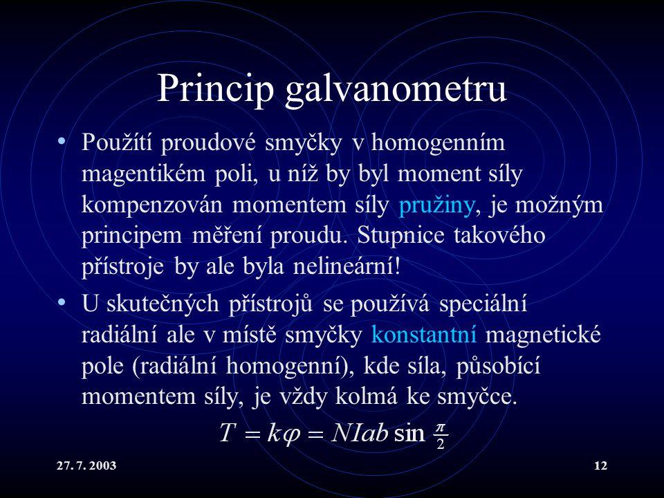 Princip galvanometru