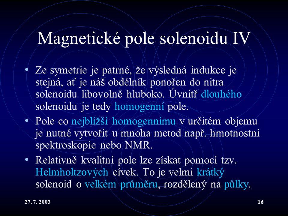 Magnetické pole solenoidu IV