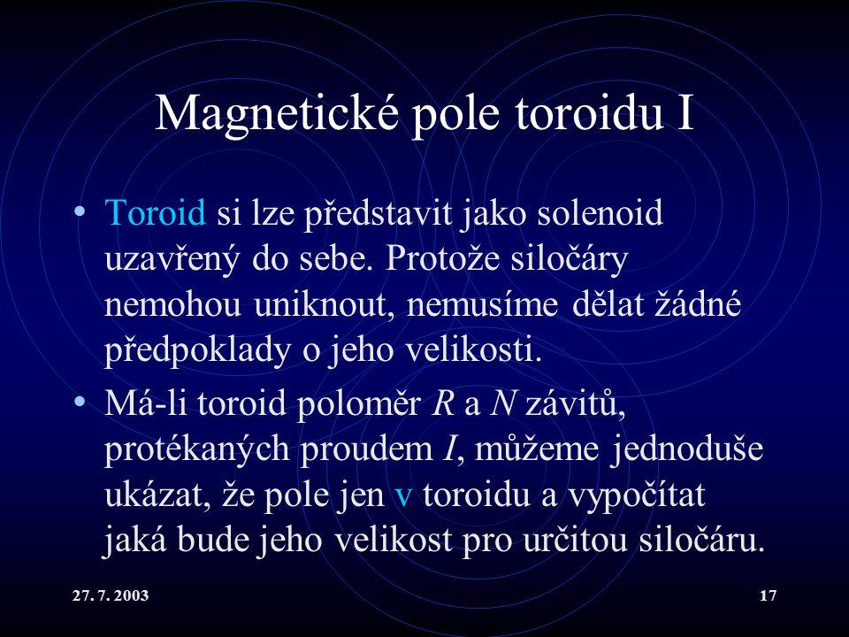 Magnetické pole toroidu I