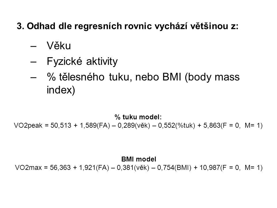 3. Odhad dle regresních rovnic vychází většinou z: