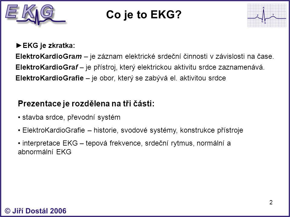 Co je to EKG Prezentace je rozdělena na tři části: ►EKG je zkratka: