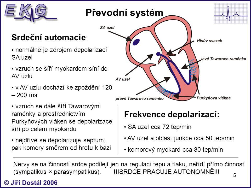 Převodní systém Srdeční automacie: Frekvence depolarizací: