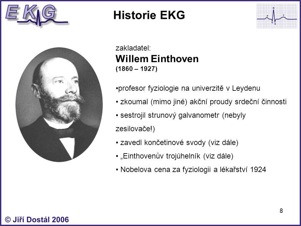 Historie EKG Willem Einthoven zakladatel: