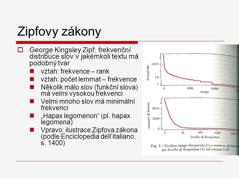 Zipfovy zákony George Kingsley Zipf: frekvenční distribuce slov v jakémkoli textu má podobný tvar. vztah: frekvence – rank.