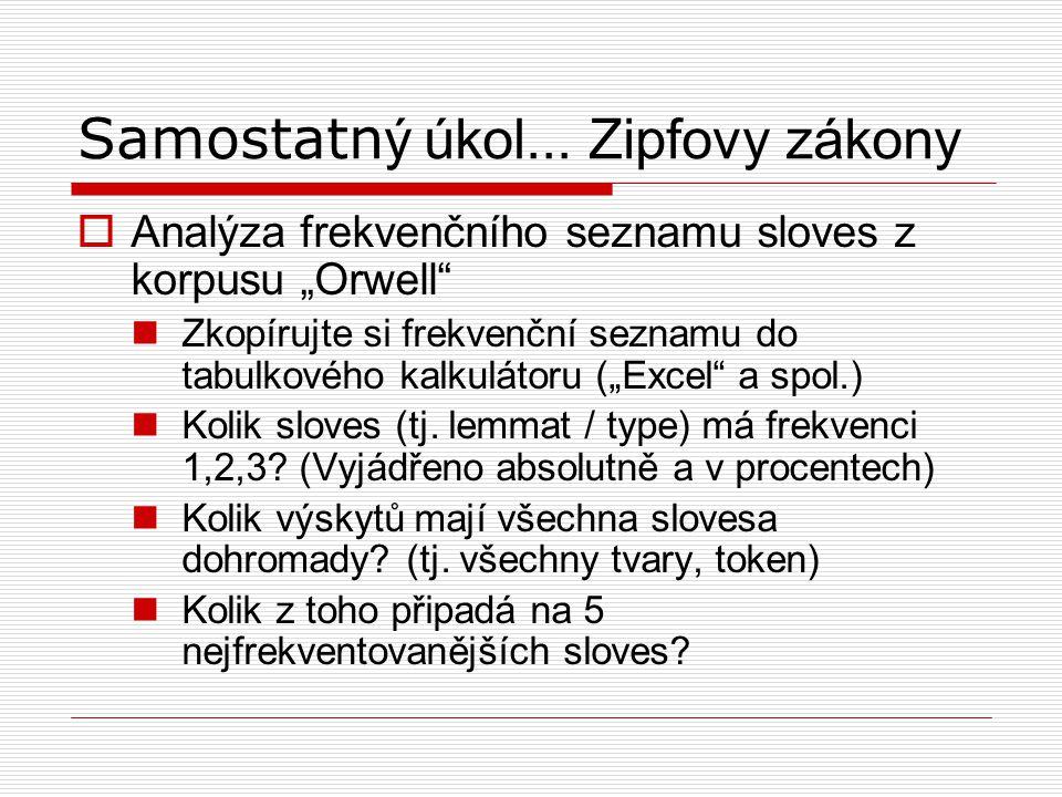 Samostatný úkol... Zipfovy zákony