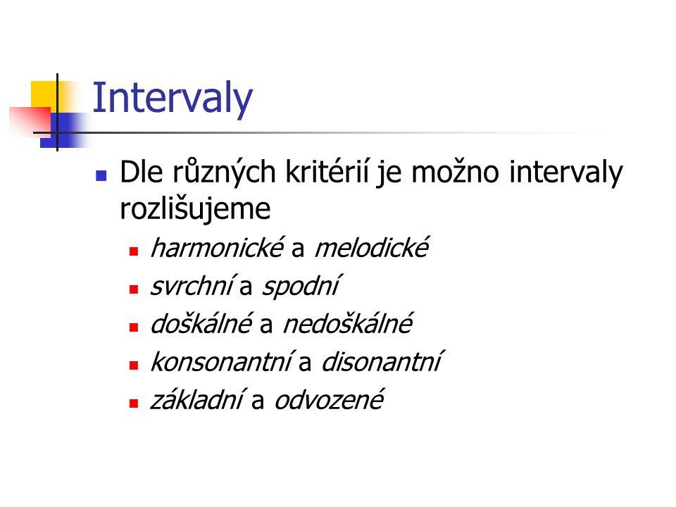 Intervaly Dle různých kritérií je možno intervaly rozlišujeme