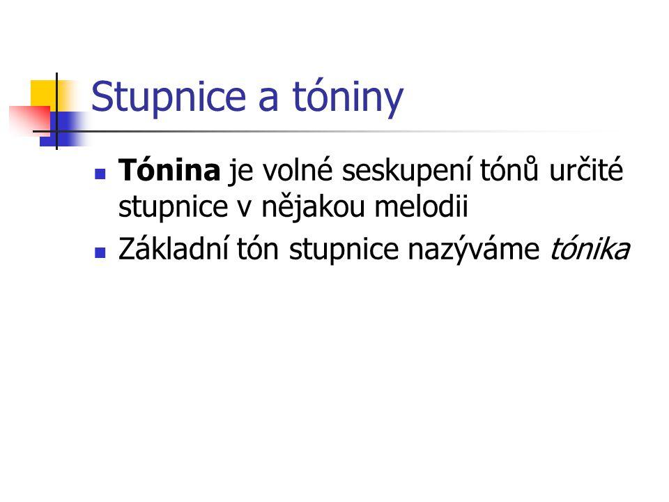 Stupnice a tóniny Tónina je volné seskupení tónů určité stupnice v nějakou melodii.