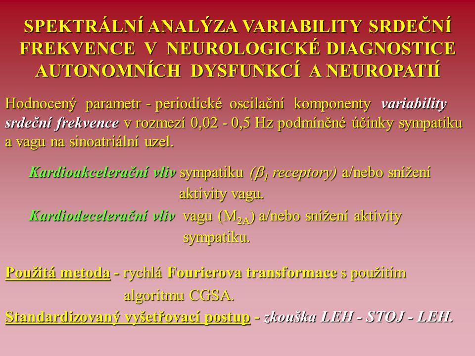 SPEKTRÁLNÍ ANALÝZA VARIABILITY SRDEČNÍ FREKVENCE V NEUROLOGICKÉ DIAGNOSTICE AUTONOMNÍCH DYSFUNKCÍ A NEUROPATIÍ