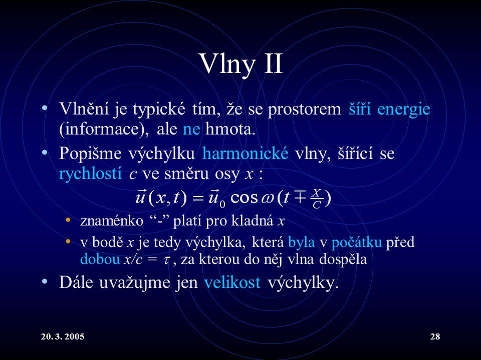 Vlny II Vlnění je typické tím, že se prostorem šíří energie (informace), ale ne hmota.