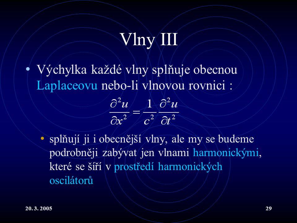 Vlny III Výchylka každé vlny splňuje obecnou Laplaceovu nebo-li vlnovou rovnici :