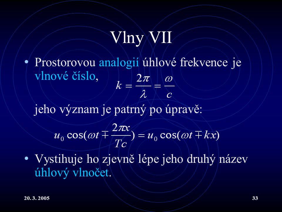 Vlny VII Prostorovou analogií úhlové frekvence je vlnové číslo,