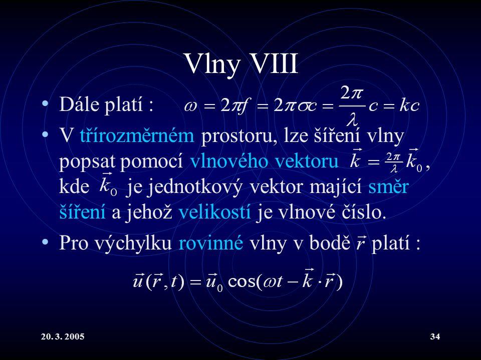 Vlny VIII Dále platí :