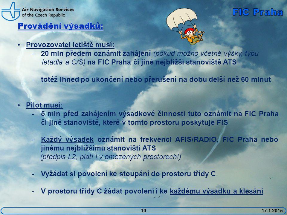 FIC Praha Provádění výsadků: Provozovatel letiště musí: