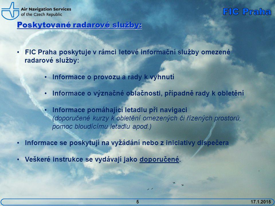 FIC Praha Poskytované radarové služby: