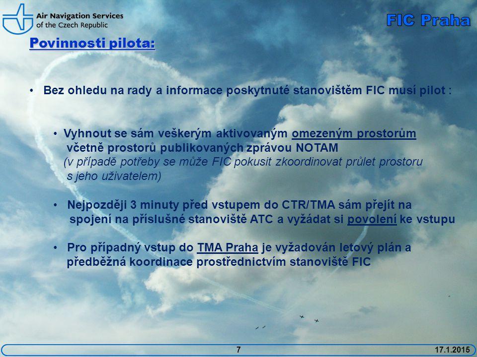 FIC Praha Povinnosti pilota: