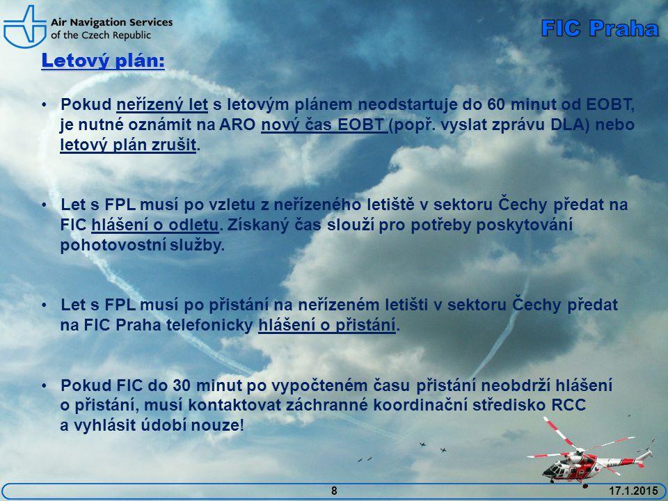 FIC Praha Letový plán: Pokud neřízený let s letovým plánem neodstartuje do 60 minut od EOBT,