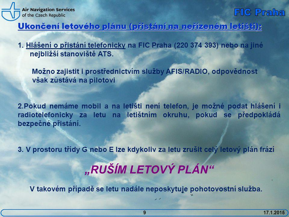 """RUŠÍM LETOVÝ PLÁN FIC Praha"