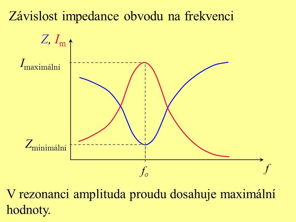 Závislost impedance obvodu na frekvenci