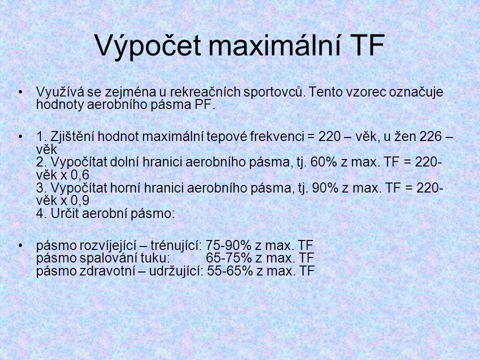 Výpočet maximální TF Využívá se zejména u rekreačních sportovců. Tento vzorec označuje hodnoty aerobního pásma PF.