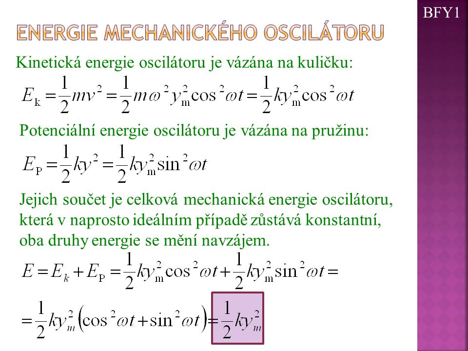 Energie mechanického oscilátoru