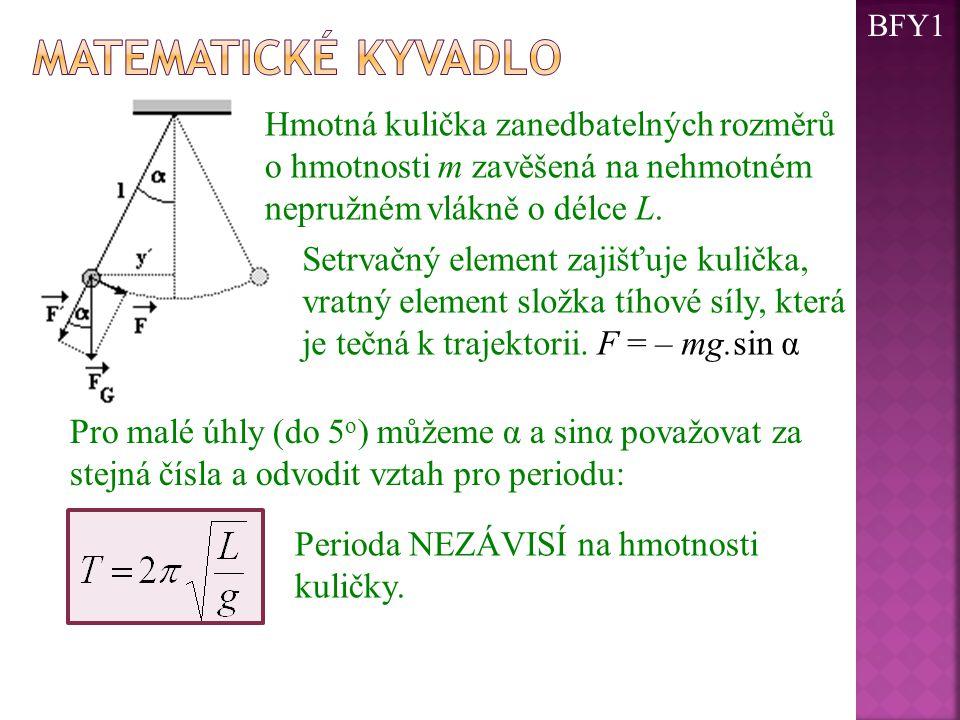 BFY1 Matematické kyvadlo. Hmotná kulička zanedbatelných rozměrů o hmotnosti m zavěšená na nehmotném nepružném vlákně o délce L.