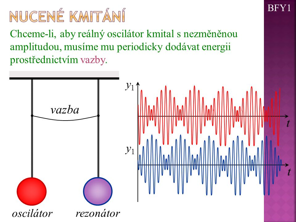 nucené kmitání vazba t y1 oscilátor rezonátor