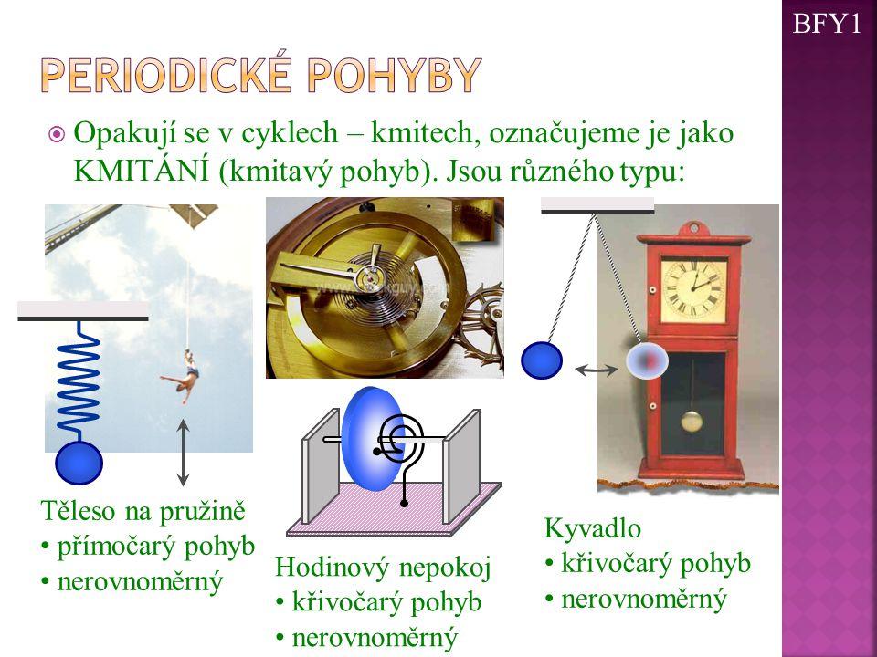 BFY1 Periodické pohyby. Opakují se v cyklech – kmitech, označujeme je jako KMITÁNÍ (kmitavý pohyb). Jsou různého typu: