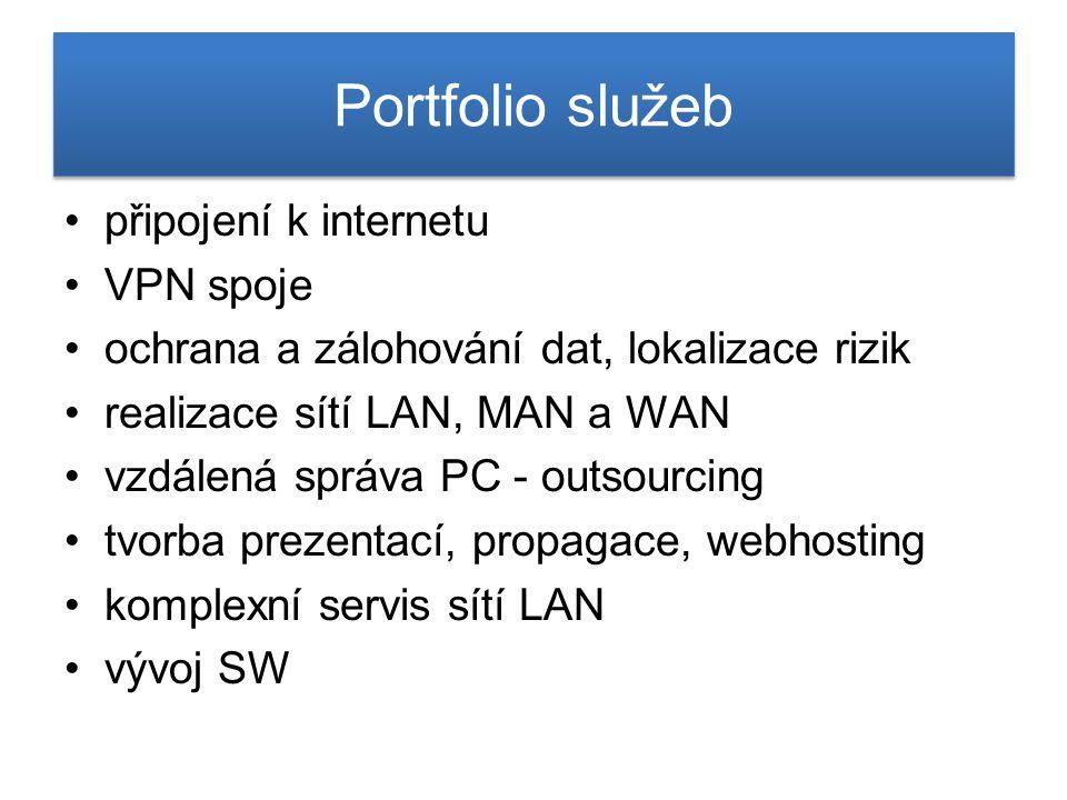 Portfolio služeb připojení k internetu VPN spoje