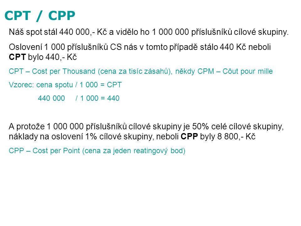 CPT / CPP Náš spot stál 440 000,- Kč a vidělo ho 1 000 000 příslušníků cílové skupiny.