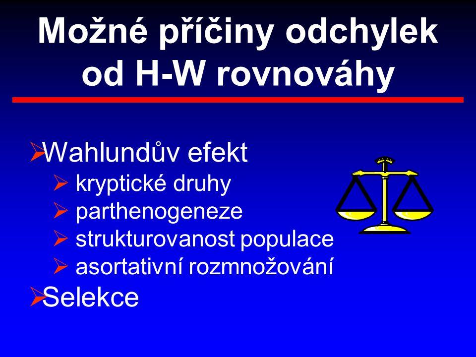 Možné příčiny odchylek od H-W rovnováhy