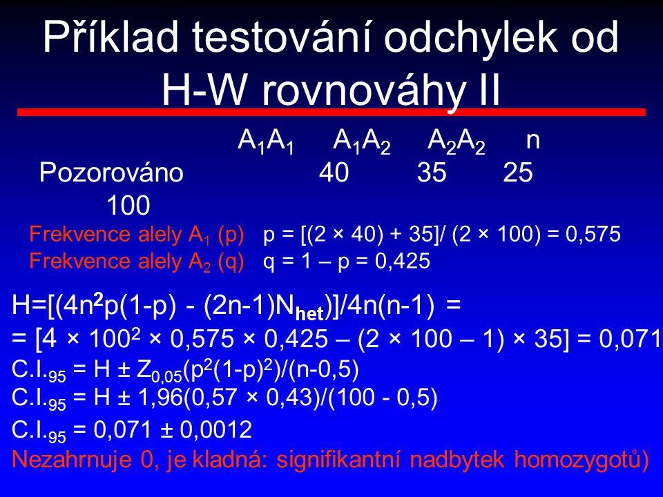 Příklad testování odchylek od H-W rovnováhy II