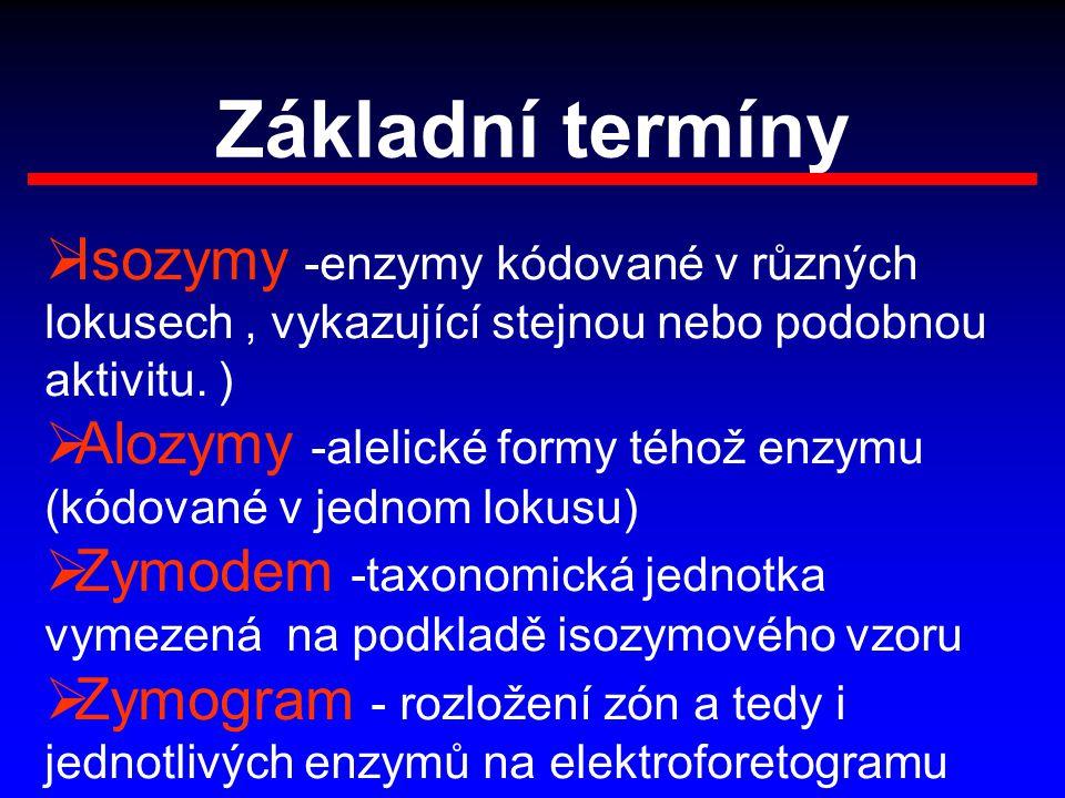 Základní termíny Isozymy -enzymy kódované v různých lokusech , vykazující stejnou nebo podobnou aktivitu. )