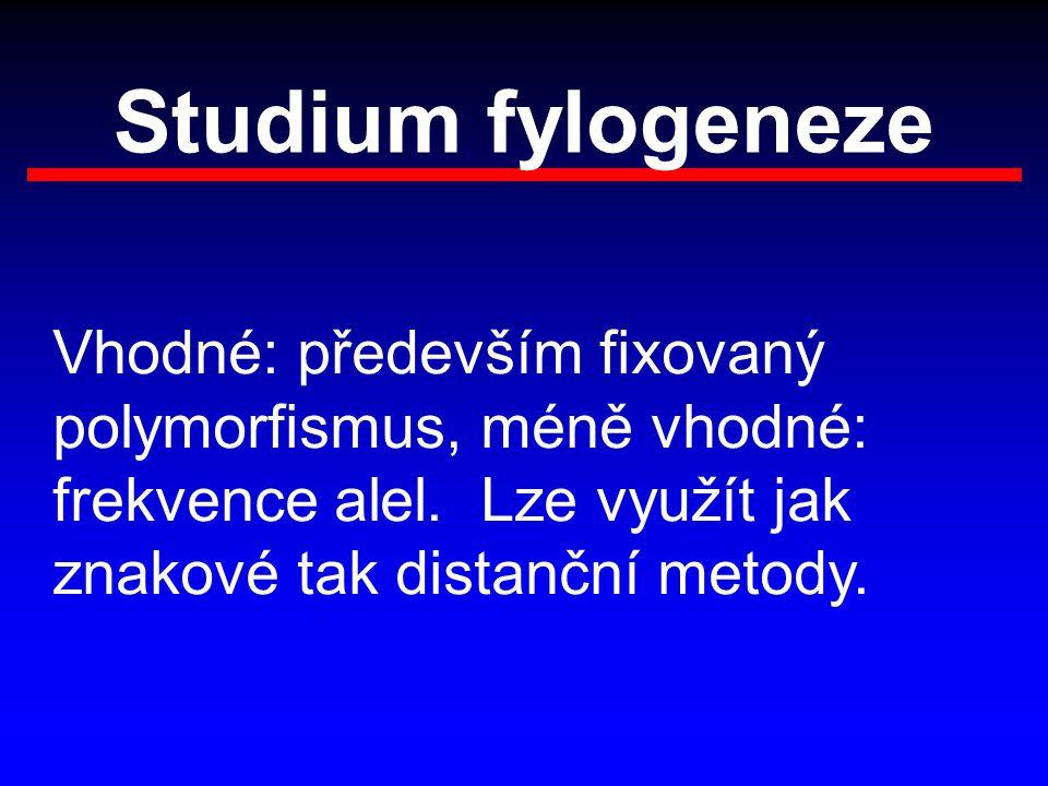 Studium fylogeneze Vhodné: především fixovaný polymorfismus, méně vhodné: frekvence alel.