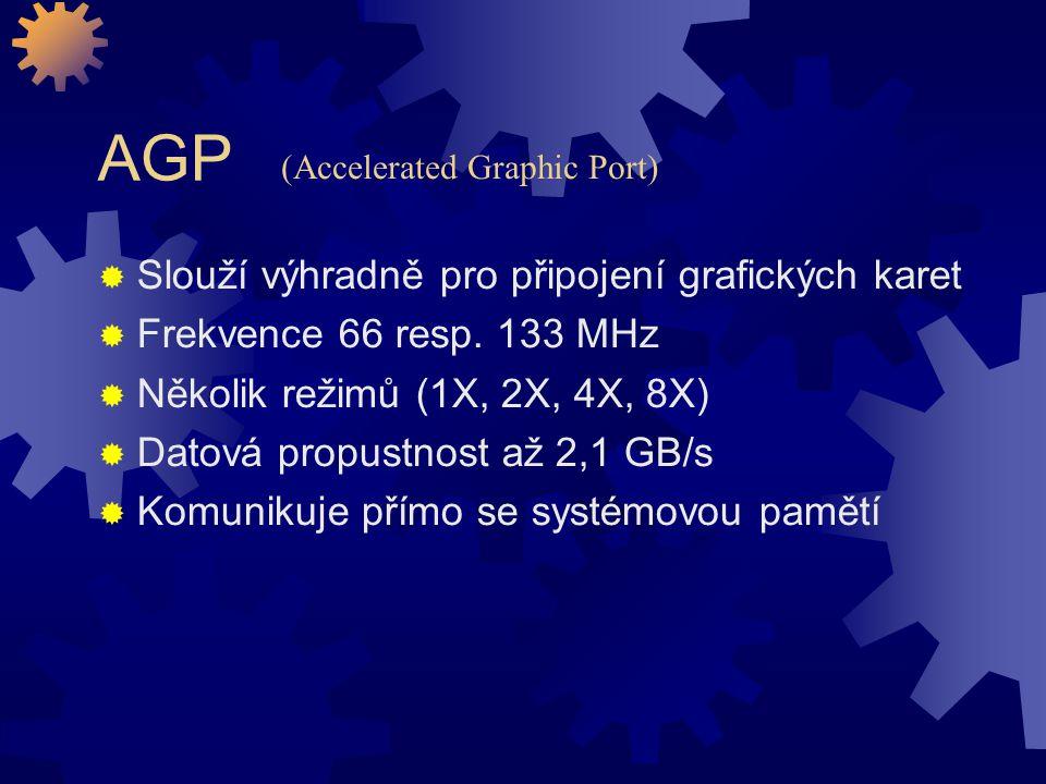 AGP Slouží výhradně pro připojení grafických karet