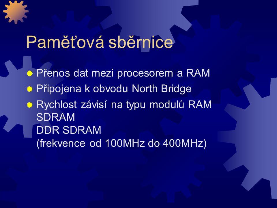 Paměťová sběrnice Přenos dat mezi procesorem a RAM