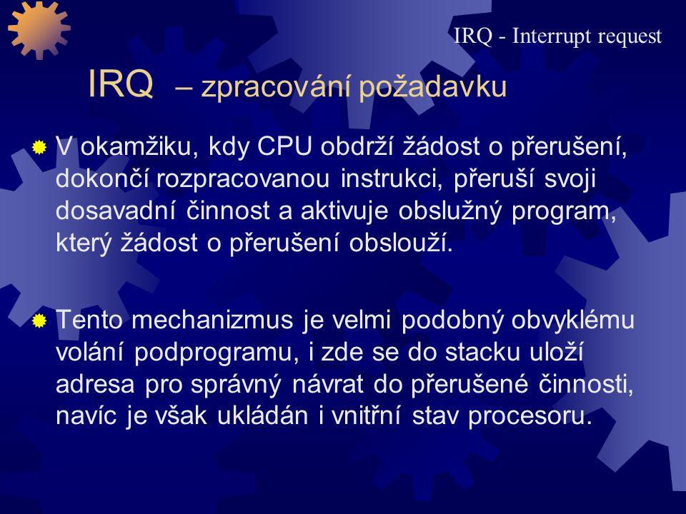 IRQ – zpracování požadavku