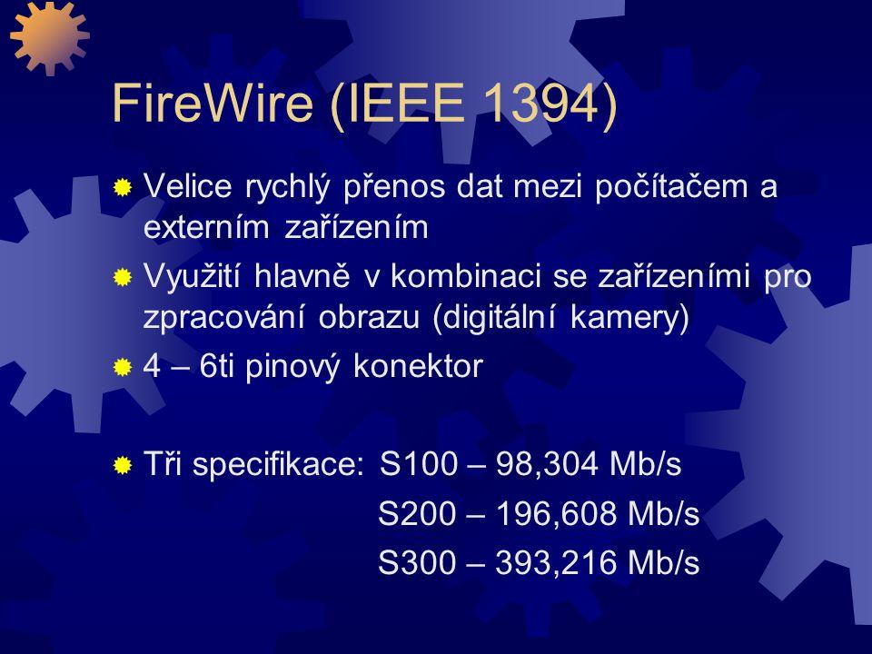 FireWire (IEEE 1394) Velice rychlý přenos dat mezi počítačem a externím zařízením.