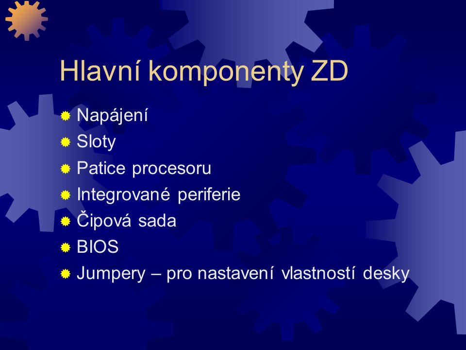 Hlavní komponenty ZD Napájení Sloty Patice procesoru