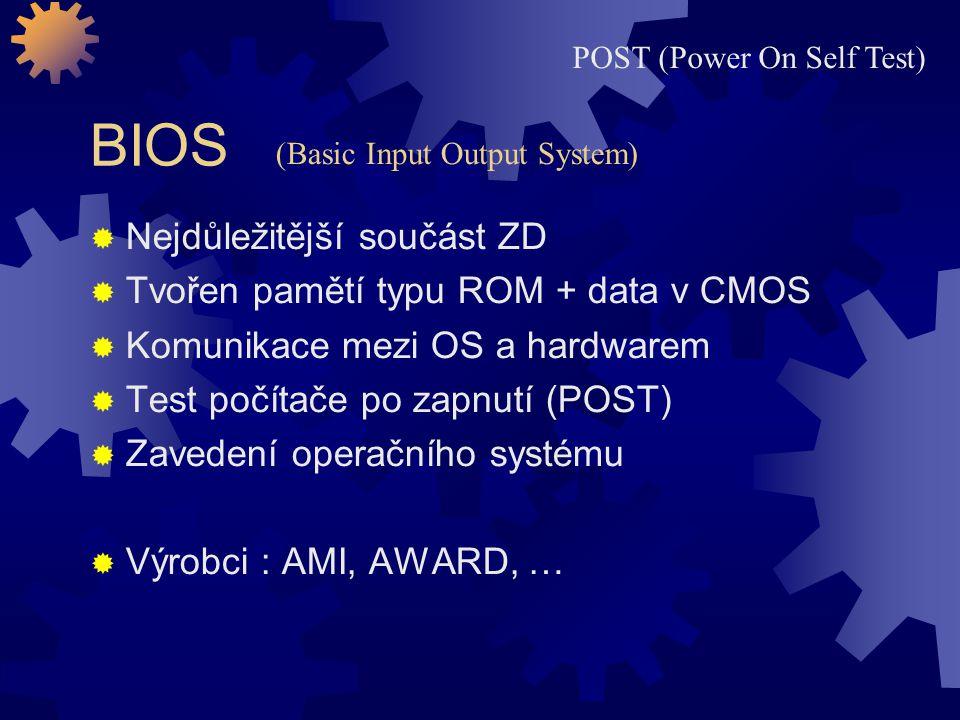 BIOS Nejdůležitější součást ZD Tvořen pamětí typu ROM + data v CMOS