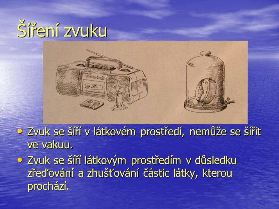 Šíření zvuku Zvuk se šíří v látkovém prostředí, nemůže se šířit ve vakuu.