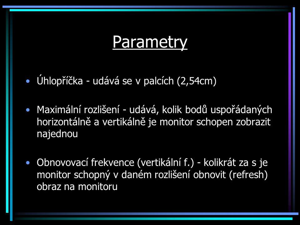Parametry Úhlopříčka - udává se v palcích (2,54cm)