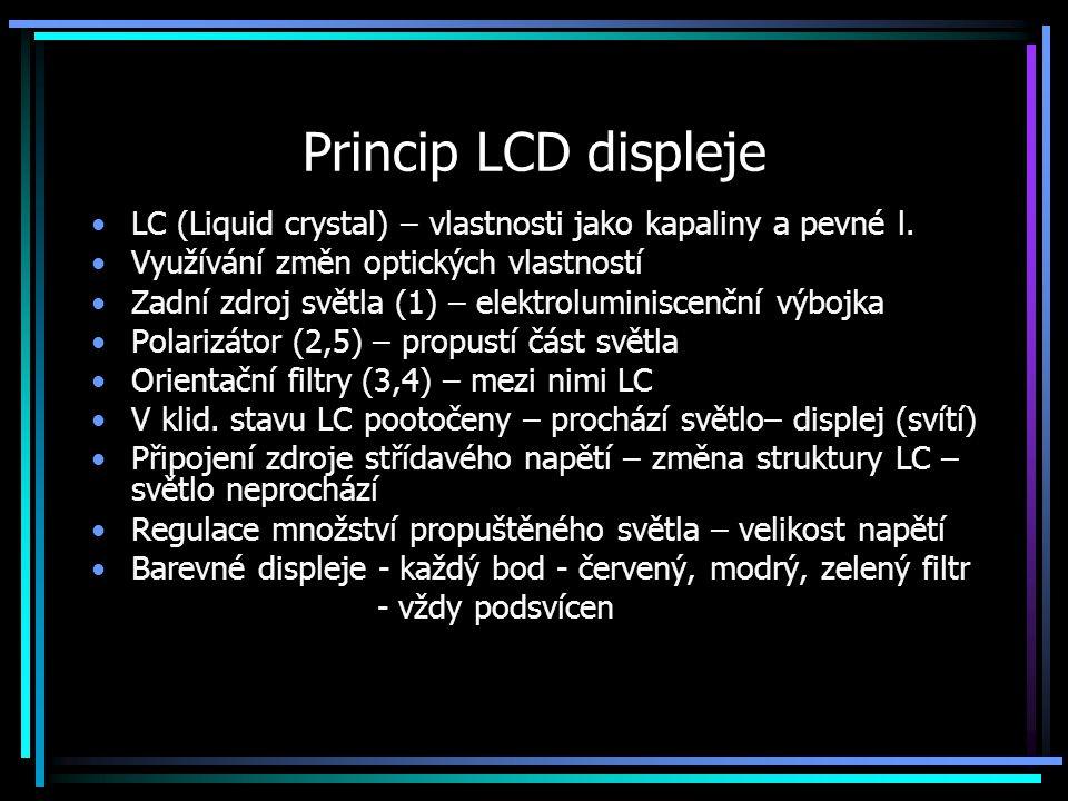 Princip LCD displeje LC (Liquid crystal) – vlastnosti jako kapaliny a pevné l. Využívání změn optických vlastností.