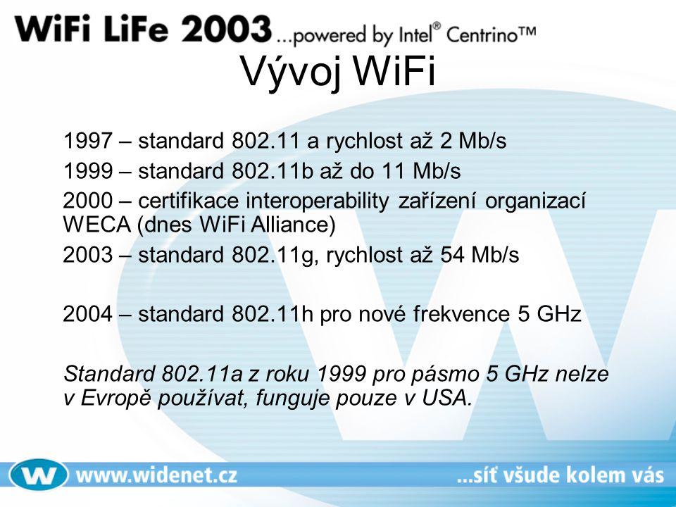Vývoj WiFi 1997 – standard 802.11 a rychlost až 2 Mb/s