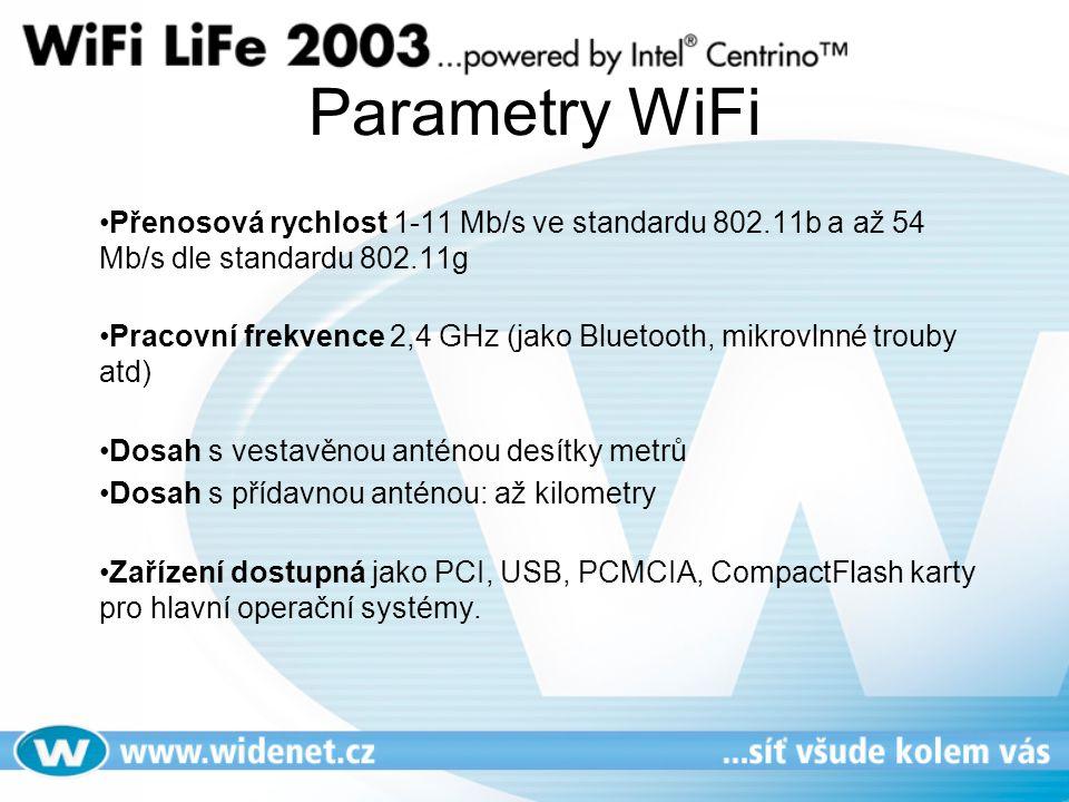 Parametry WiFi Přenosová rychlost 1-11 Mb/s ve standardu 802.11b a až 54 Mb/s dle standardu 802.11g.