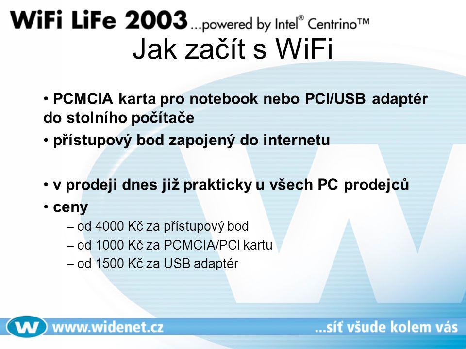 Jak začít s WiFi PCMCIA karta pro notebook nebo PCI/USB adaptér do stolního počítače. přístupový bod zapojený do internetu.