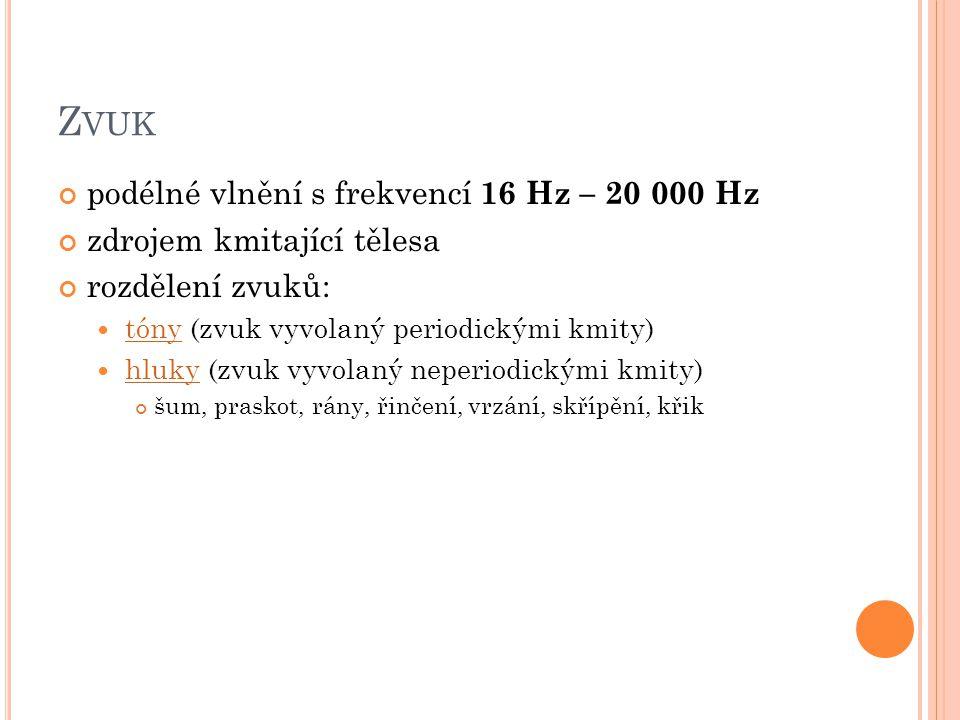 Zvuk podélné vlnění s frekvencí 16 Hz – 20 000 Hz