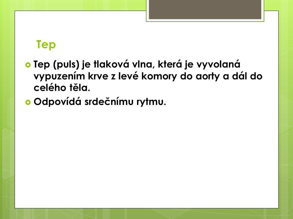 Tep Tep (puls) je tlaková vlna, která je vyvolaná vypuzením krve z levé komory do aorty a dál do celého těla.