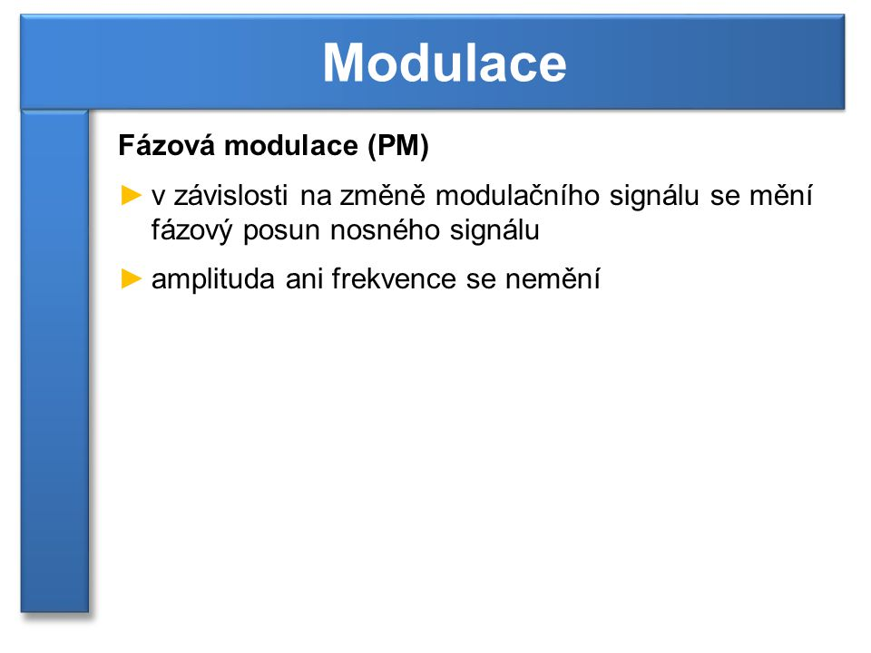Modulace Fázová modulace (PM)